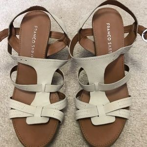 Franco Sarto Leather Strappy Nude Wedges